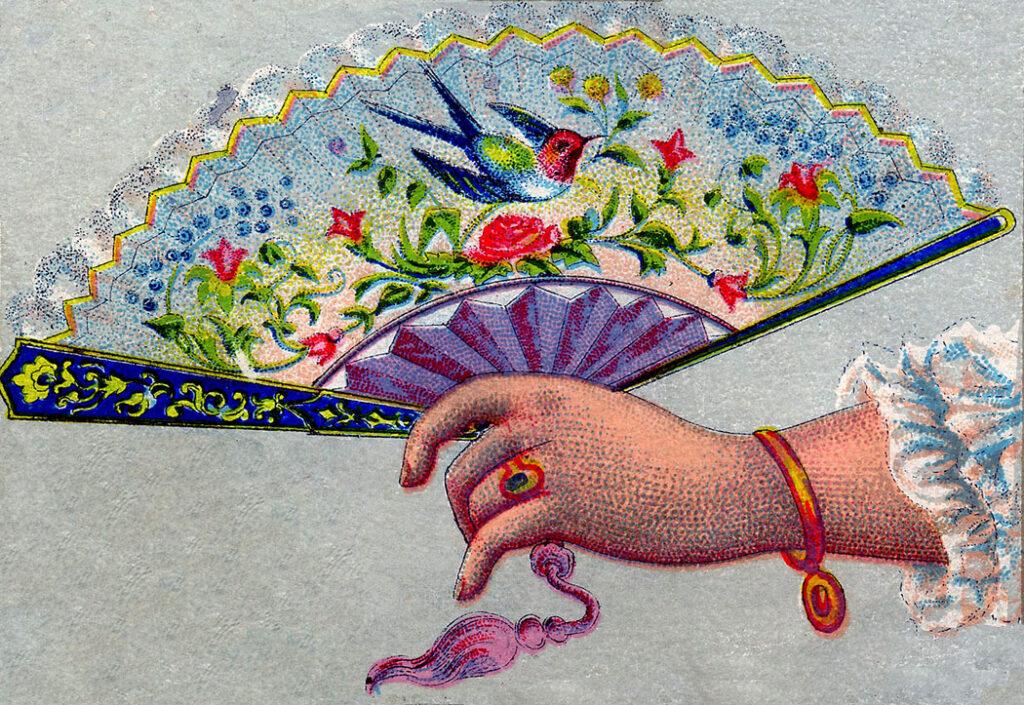 calling card hand fan illustration