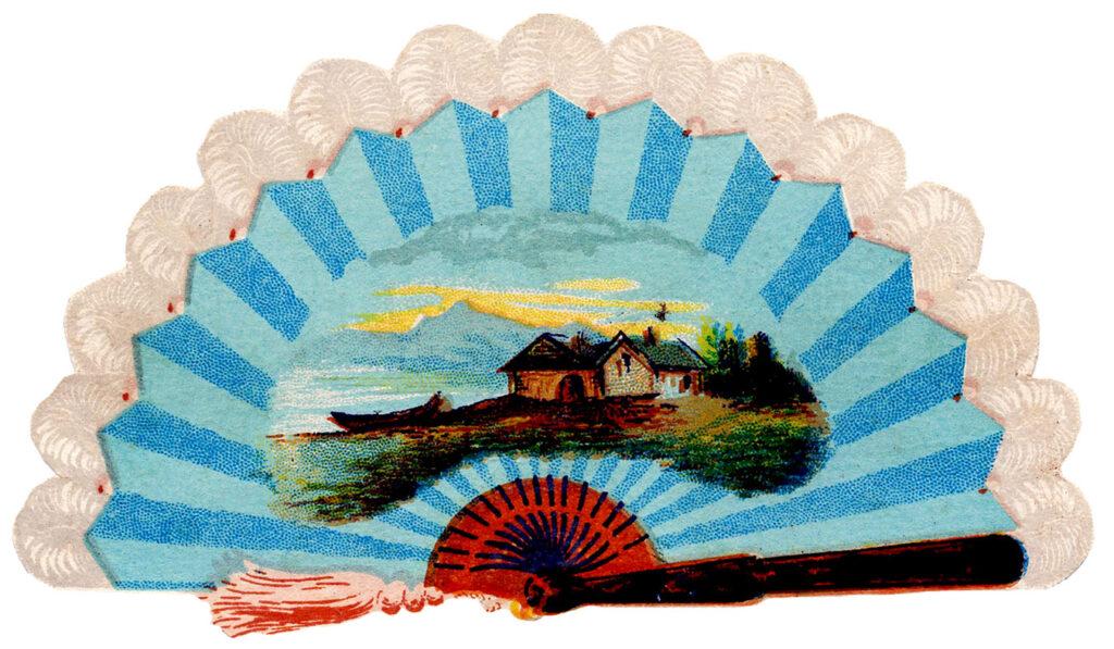 blue vintage fan landscape image