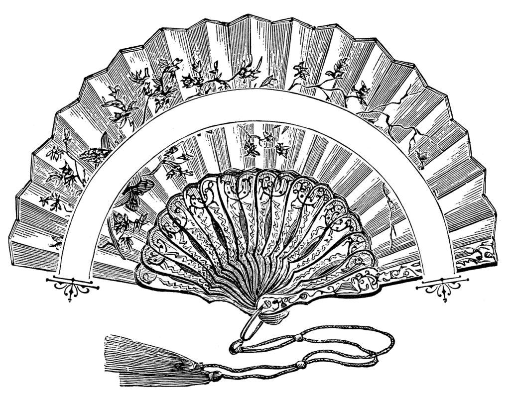 vintage hand fan clipart
