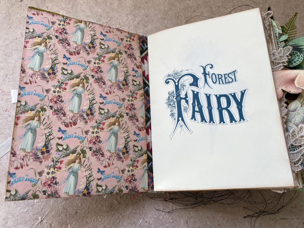 forest fairy junk journal pink endpaper