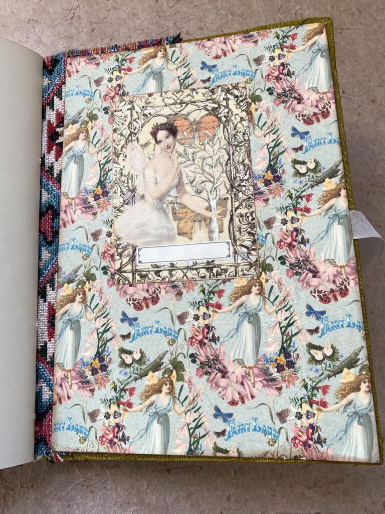forest fairy junk journal blue endpaper ex libris label
