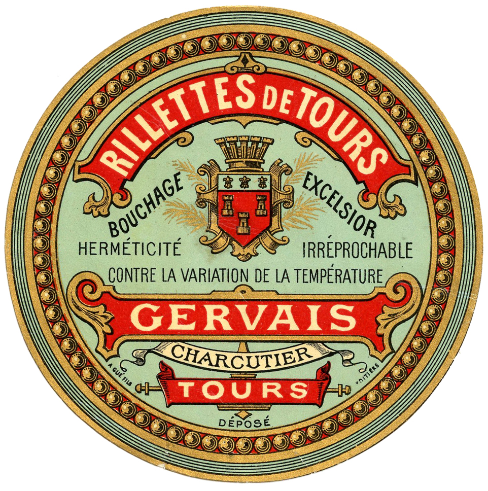 French round label Rillettes illustration