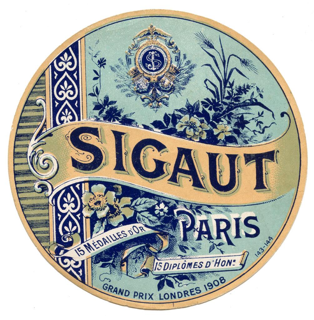 Fremch round Sigaut label vintage image