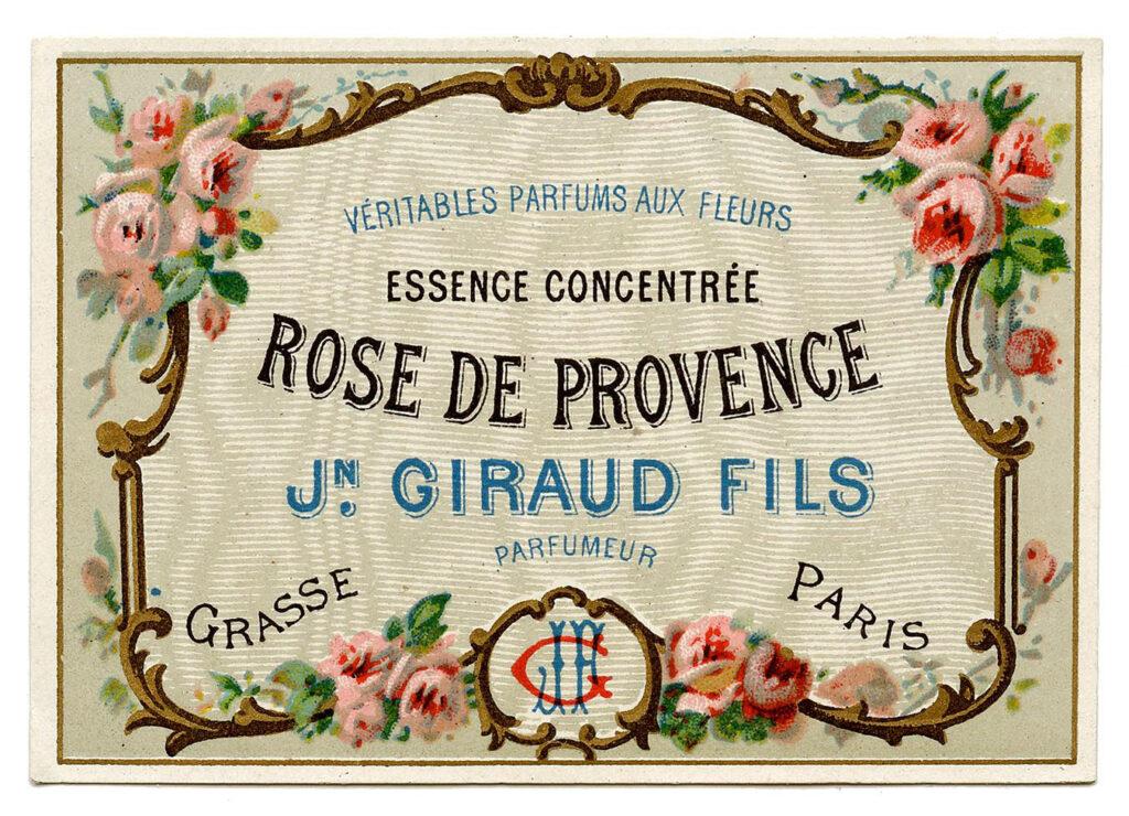Rose De Provence Perfume Label
