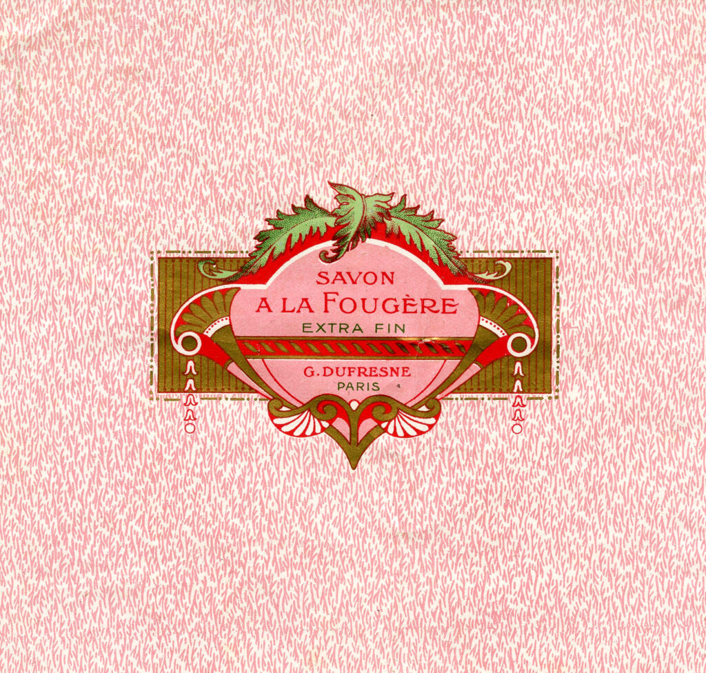 vintage pink French label image