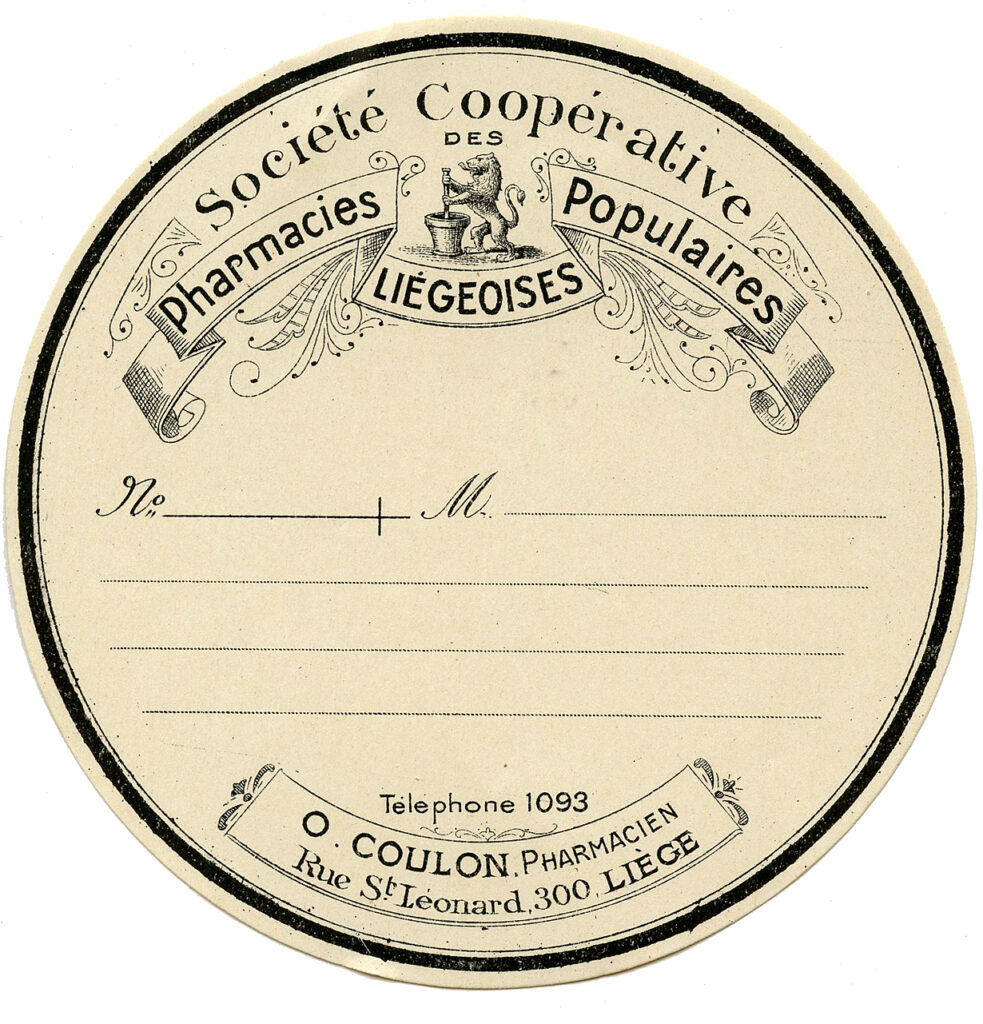 round French pharmacy label image