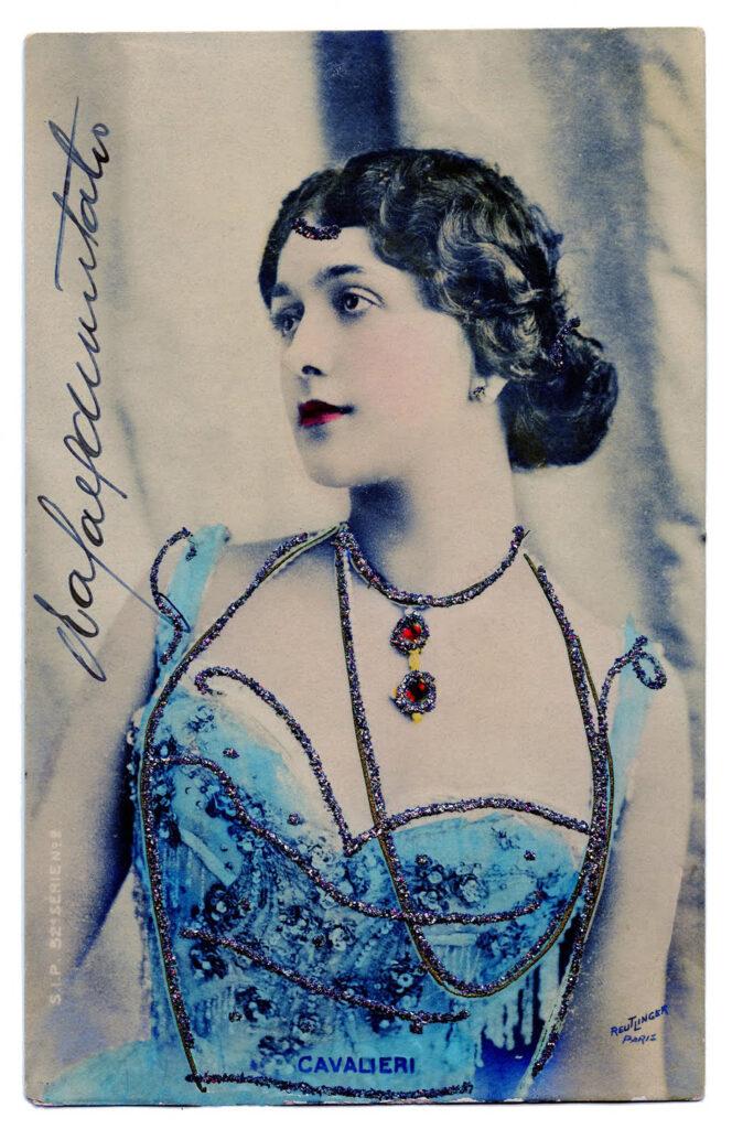 Lina Cavalieri actress blue dress photo image