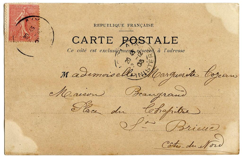 vintage French postcard reverse back postmark image