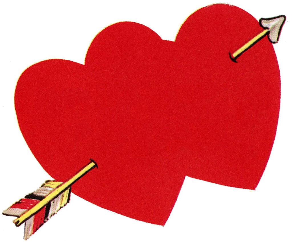 vintage Valentine hearts arrow clipart