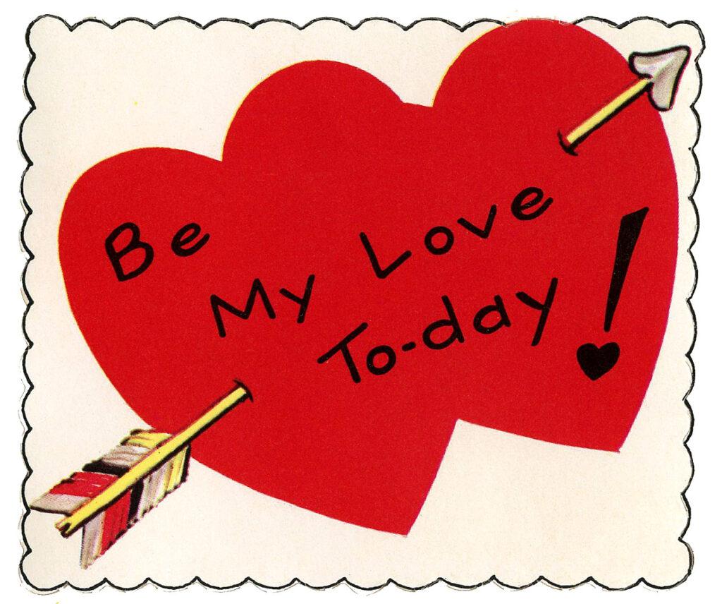 retro arrow hearts Valentine greeting image
