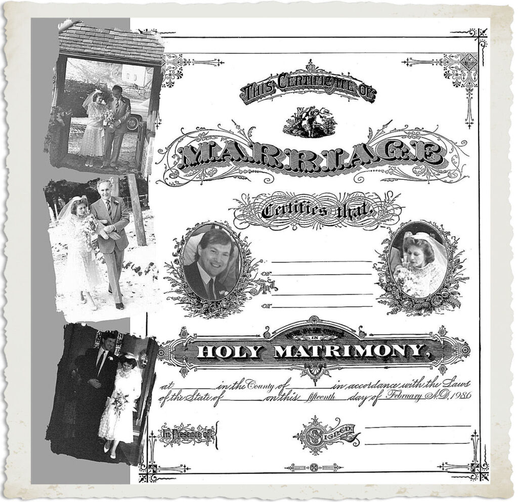 Scrapbook page with Marriage theme