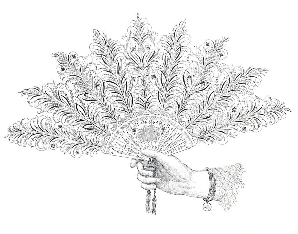 Spencerian fan illustration
