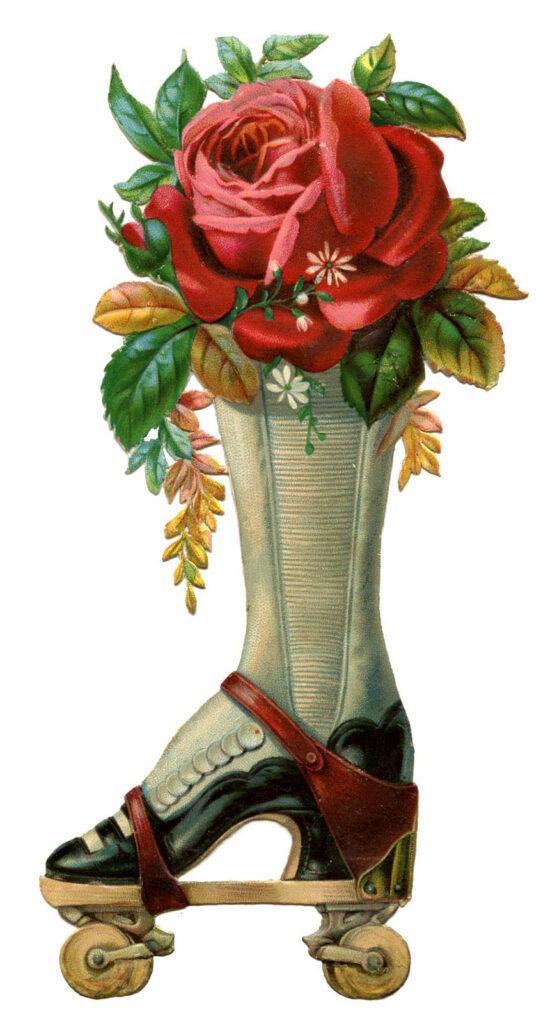 vintage roller skate floral bouquet image