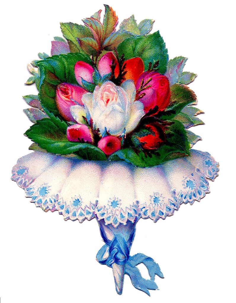 tussy mussy rose bouquet illustration