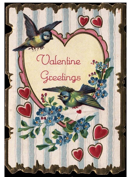 Valentine heart birds vintage card image