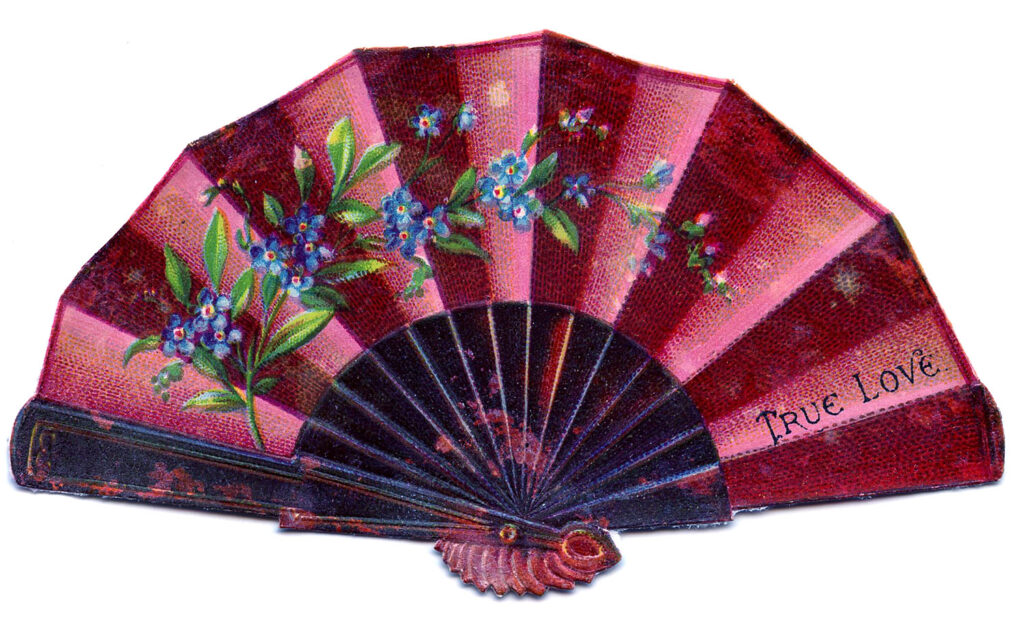Victorian pink fan illustration