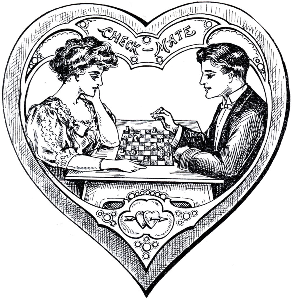 Victorian heart valentine couple image
