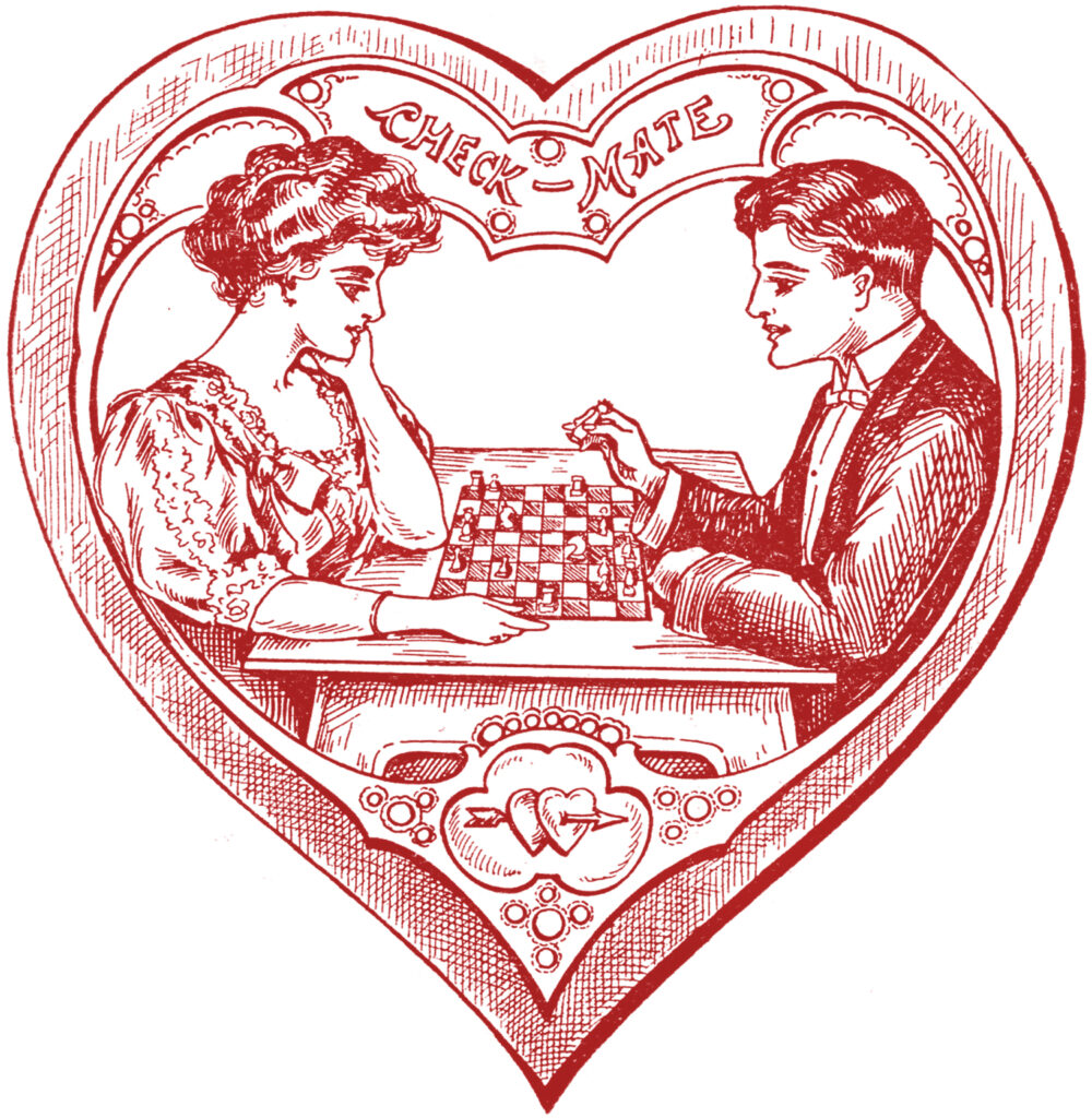 Victorian red heart couple chess image
