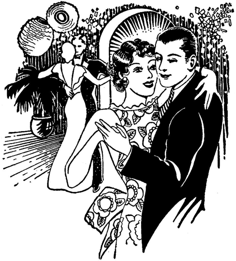 vintage ballroom dancing clipart