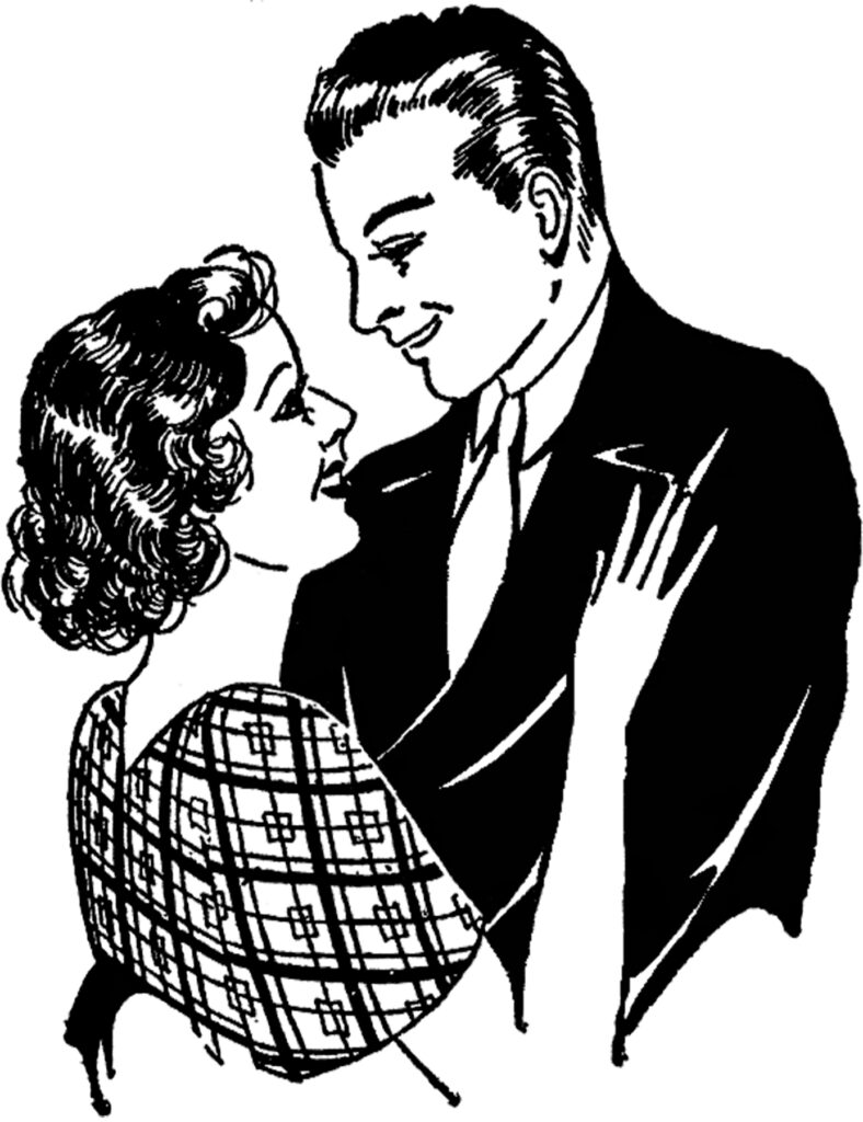 couple embracing vintage illustration