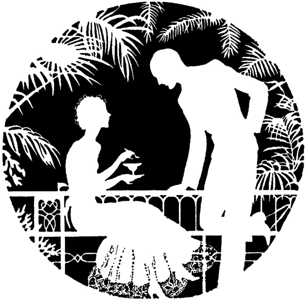 vintage couple drinks silhouette image