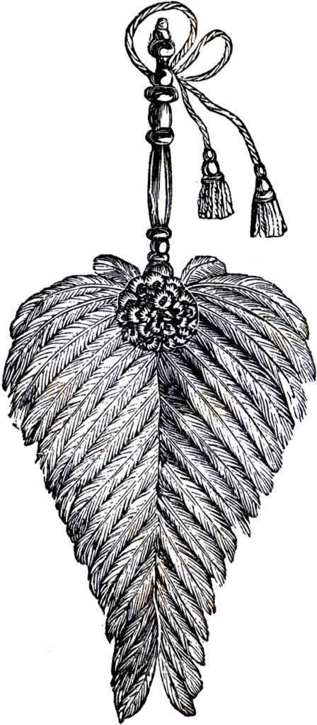 vintage feather fan clipart