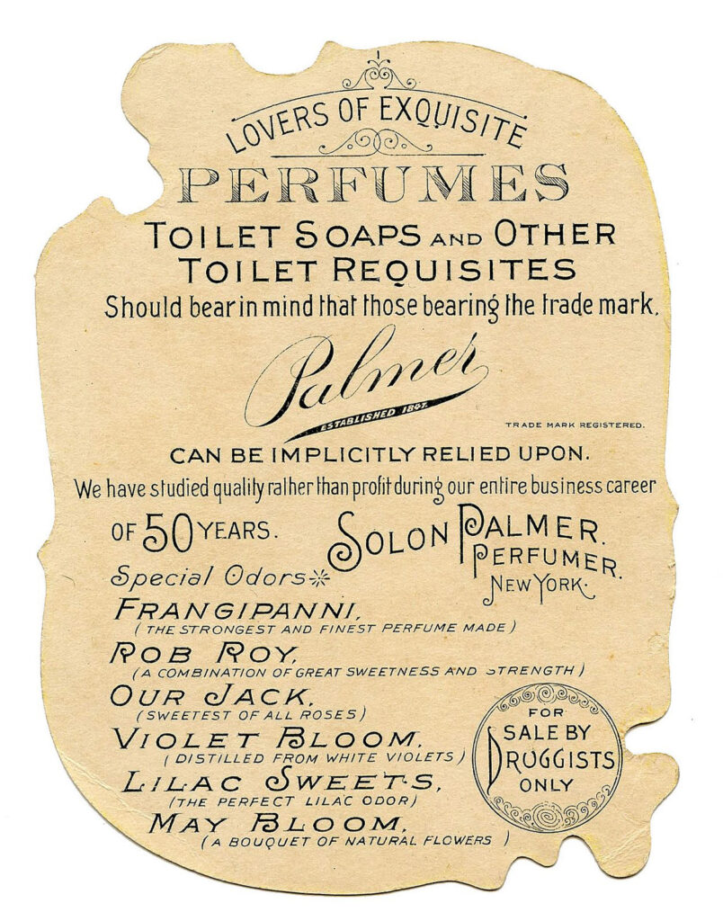 Floral trade card reverse toilet soap image
