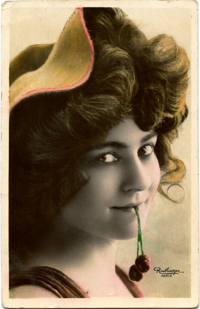 vintage woman cherries clipart