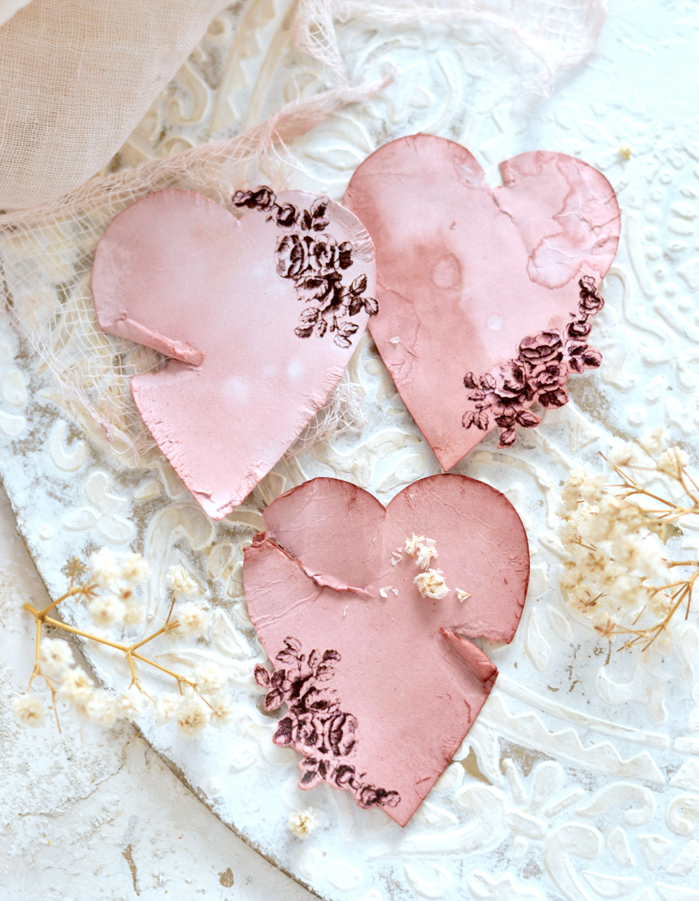 Avocado Dyed Antique Paper Hearts
