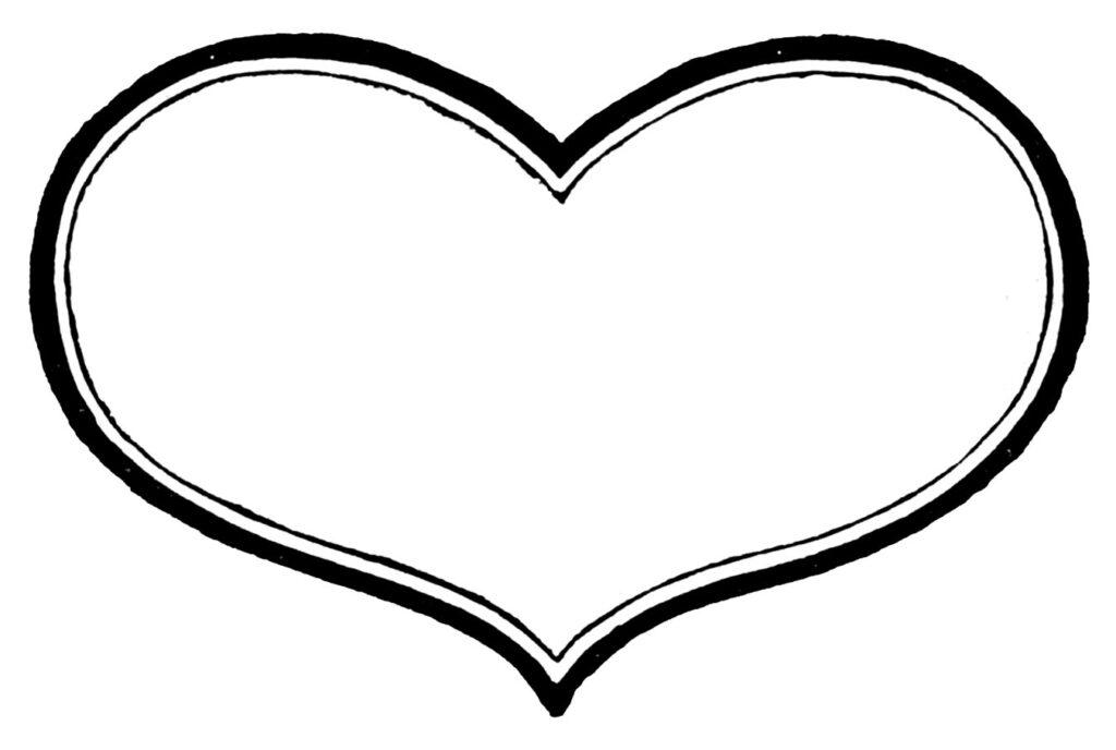 vintage black white heart clipart