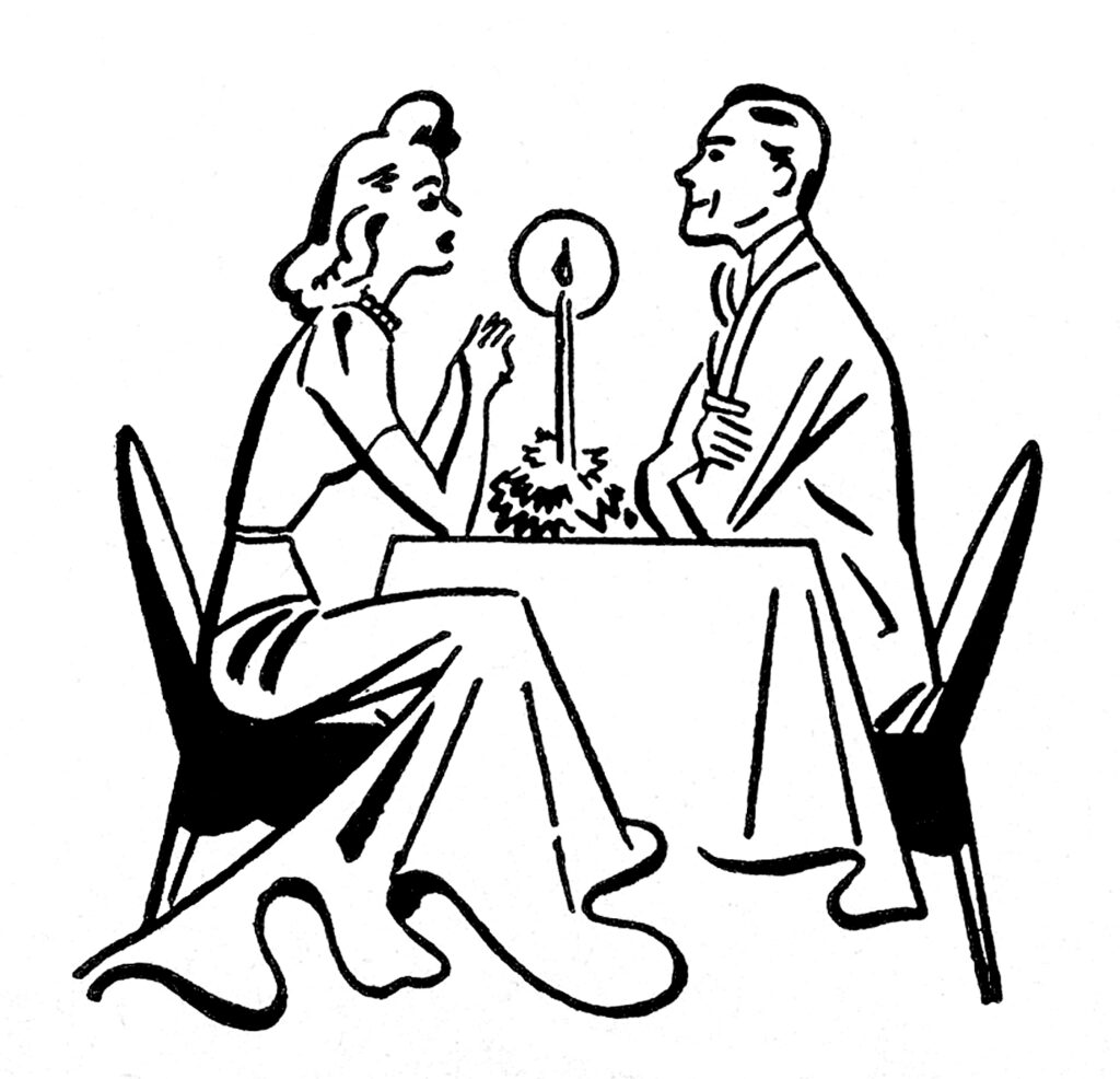 dining couple retro clip art