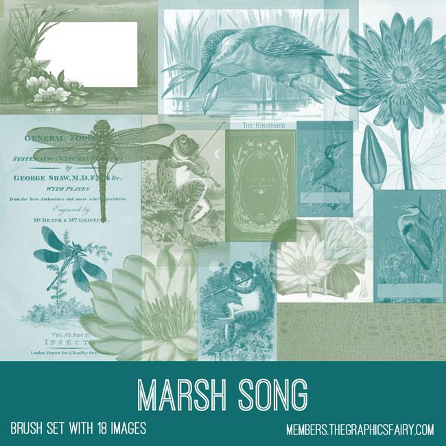 vintage marsh song ephemera brush set