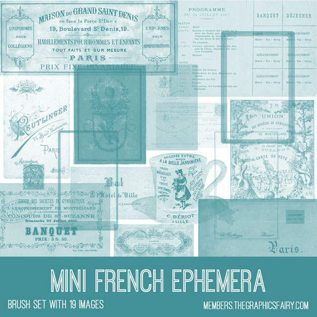 vintage mini French ephemera digital image bundle
