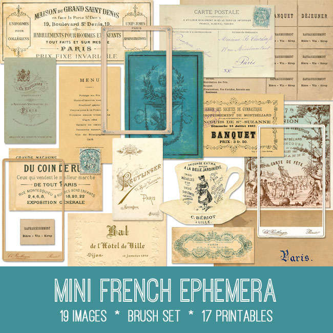 mini French ephemera vintage images