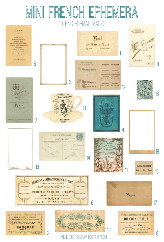 vintage mini French ephemera bundle