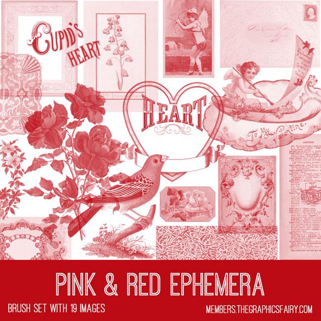 vintage pink & red ephemera brush set