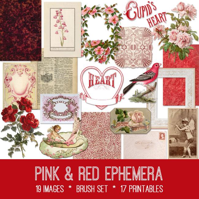Pink & Red Ephemera vintage images