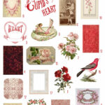 vintage pink & red ephemera digital image bundle