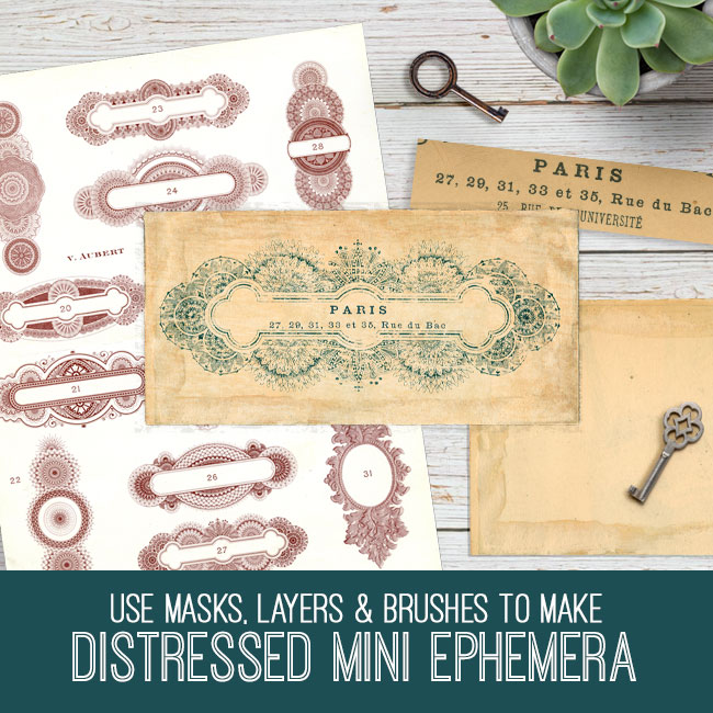 PSE tutorial distressed mini ephemera