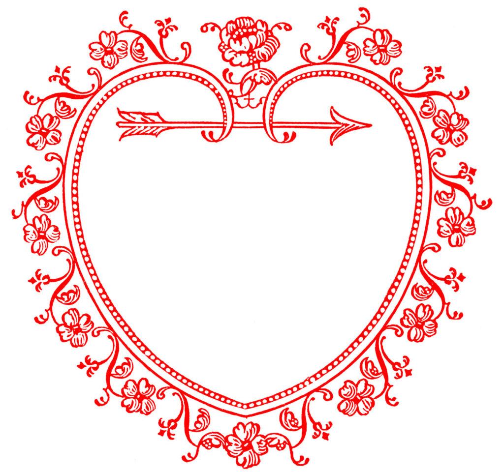 red heart frame valentine illustration