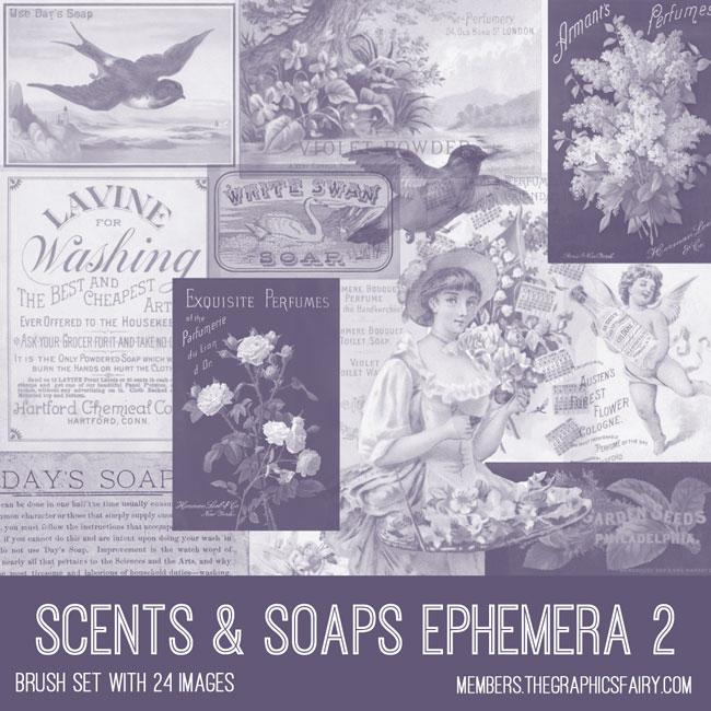 vintage scents & soaps ephemera 2 brush set