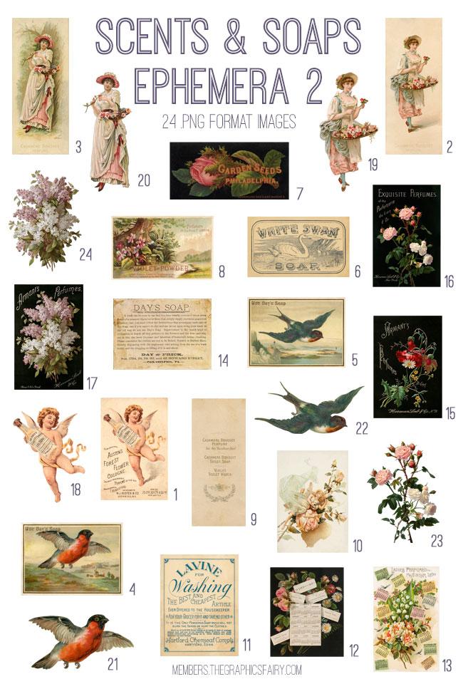 vintage scents & soaps ephemera 2 digital image bundle