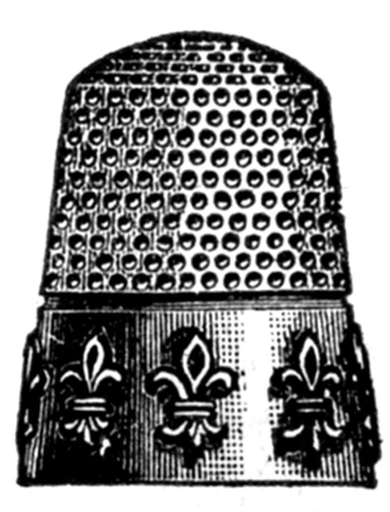 antique thimble fleur de lis clipart