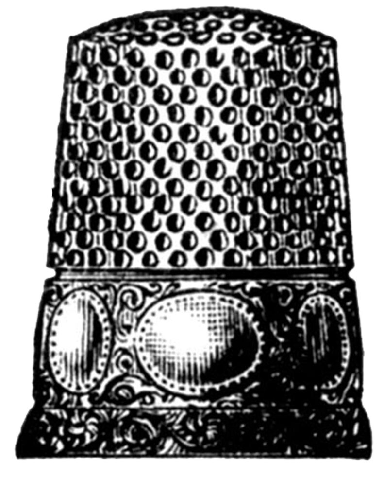 fancy thimble oval engraving illustration
