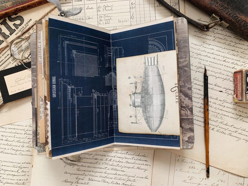 dirigible ephemera junk journal page