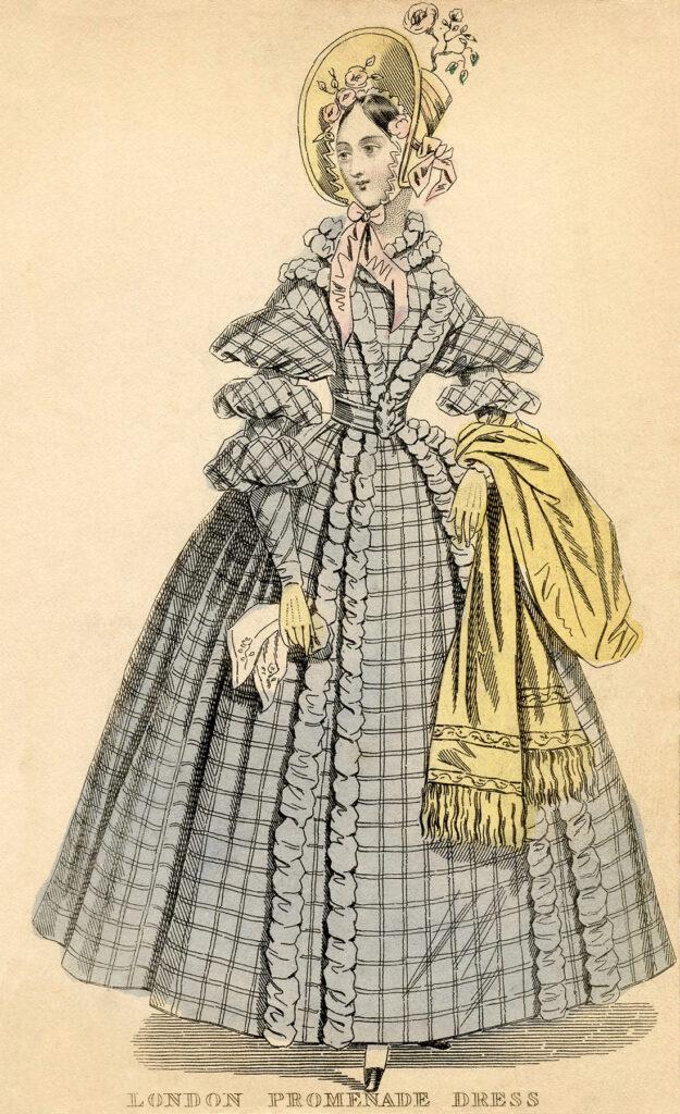 antique London plaid dress fashion illustration