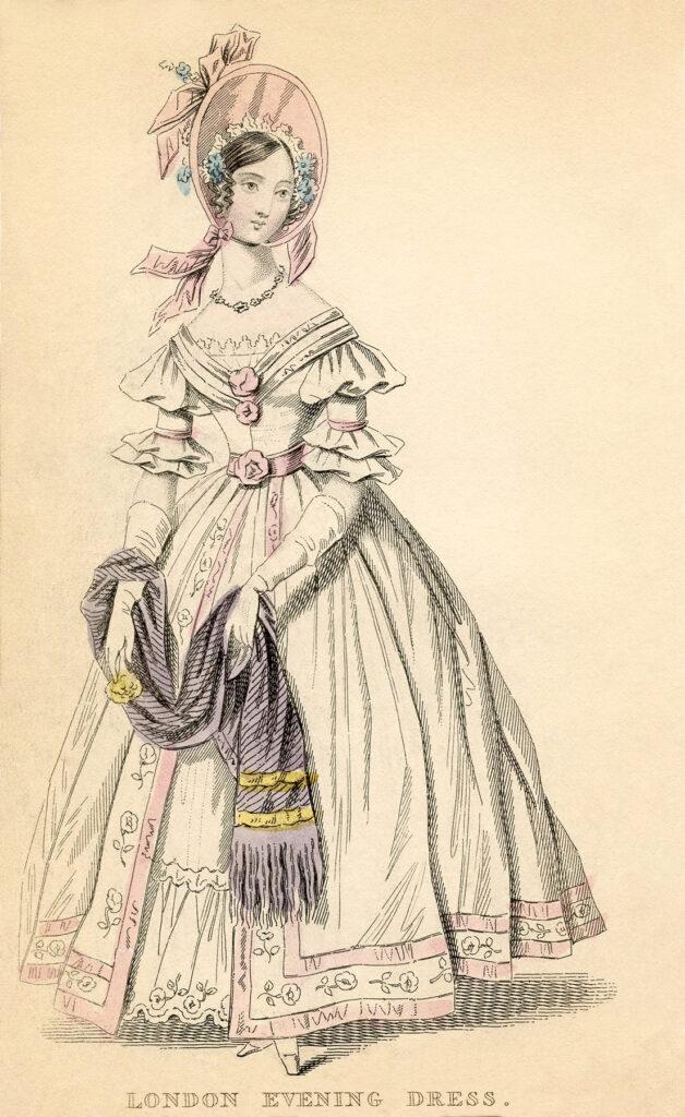 antique London white dress fashion clipart