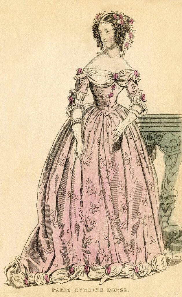 antique paris pink evening dress fashion plate image