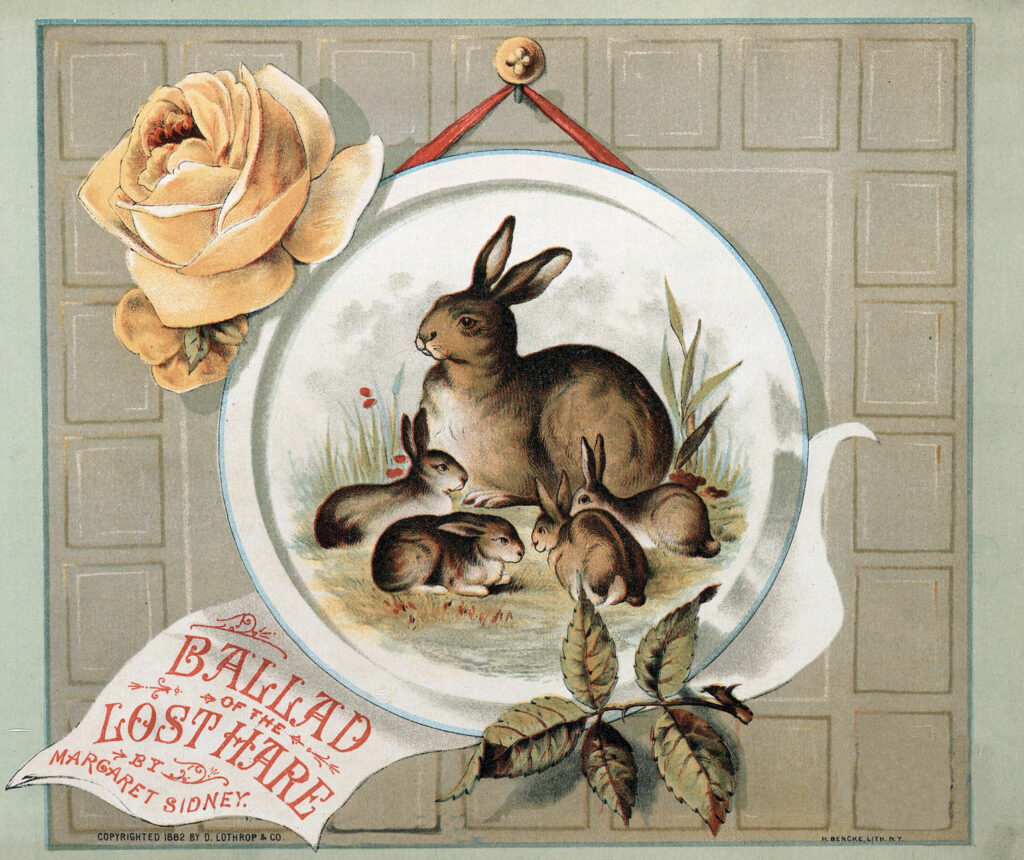 bunnies plate vintage graphic image