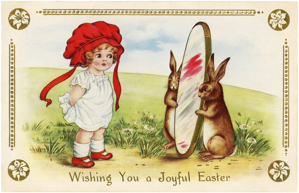 child rabbits mirror Easter illustration